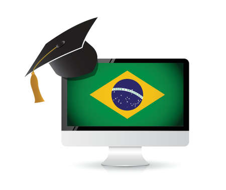 using technology to learn the portuguese language. illustration design concept Vector