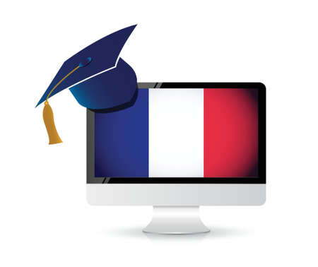 using technology to learn the french language . illustration design concept Stock Vector - 21161449