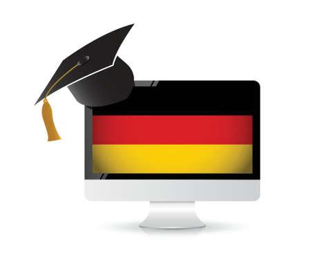 utilizando la tecnolog�a para aprender el idioma alem�n. concepto de ilustraci�n, dise�o,
