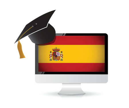 using technology to learn the spanish language. illustration design concept Vector
