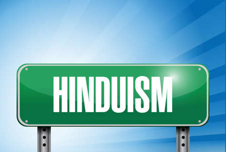 popular belief: hinduism religious road sign banner illustration design over a peaceful sky