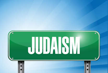 jews: judaism religious road sign banner illustration design over a peaceful sky Illustration
