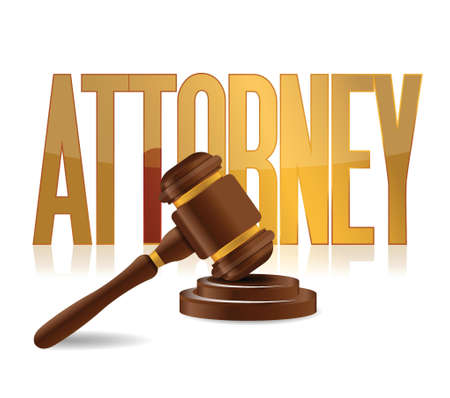 verdicts: attorney at law sign illustration design over a white background