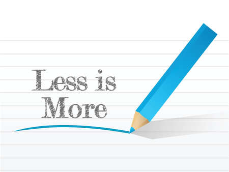 less: less is more message written on a notepad paper