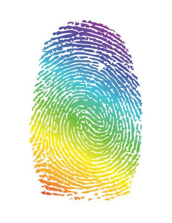 rainbow pride thumbprint. fingerprint illustration design over white