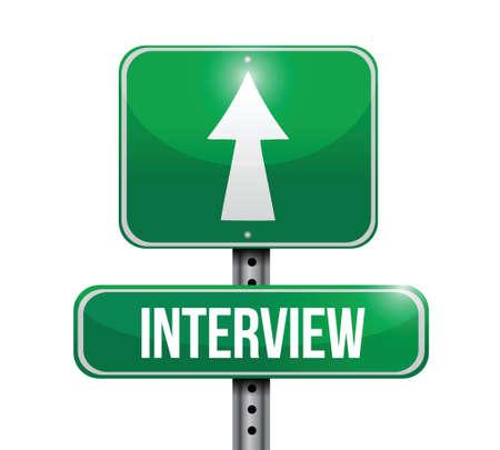 interview road sign illustration design over white