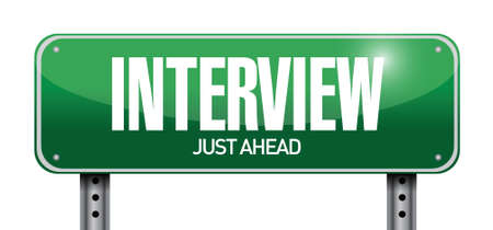interrogating: interview road sign illustration design over white