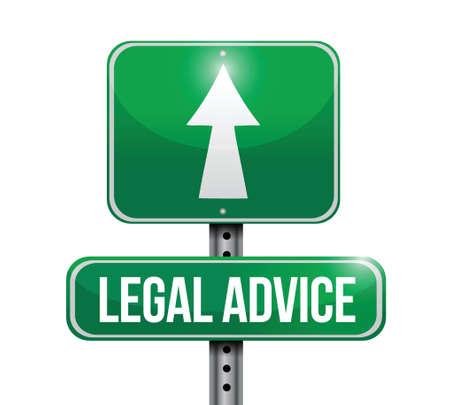 seeking assistance: legal advice road sign illustration design over white Illustration