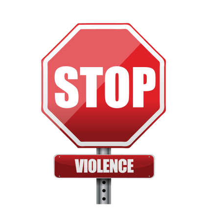 violencia familiar: detener la violencia dise�o ilustraci�n sobre un fondo blanco