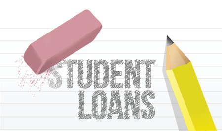 erasing student loans concept illustration design over white Vector