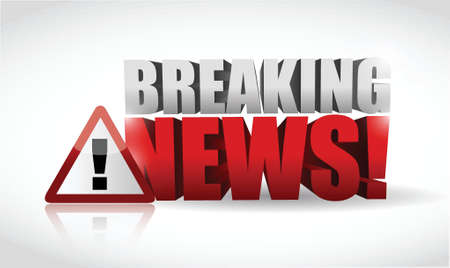news flash: breaking news warning sign illustration design over white