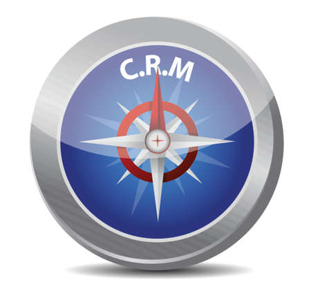 relationship management: crm guide. compass illustration design over a white background