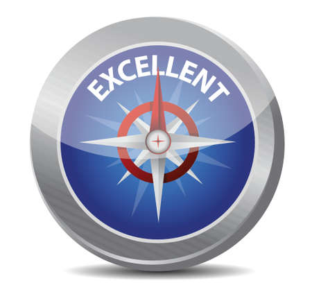 guide to excellence compass illustration design over a white background Vector