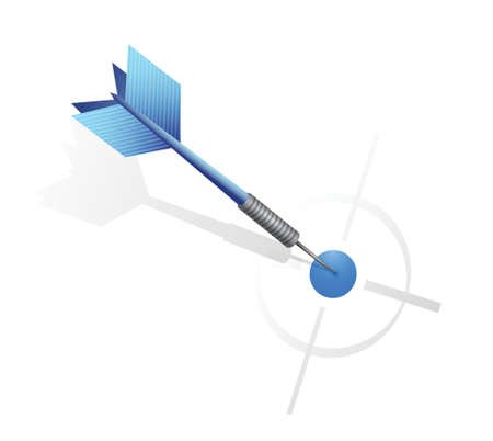 blue dart hitting the target. illustration design over a white background Vector