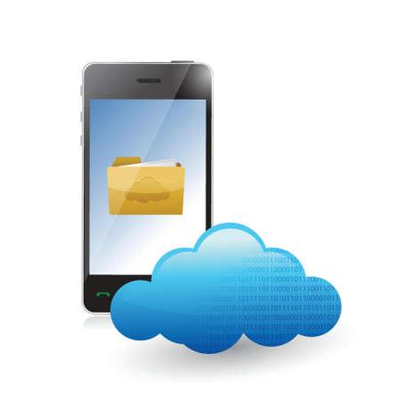 accessing: tel�fono nube de comunicaci�n accesibles a los archivos. ilustraci�n, dise�o en blanco