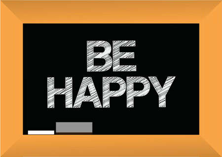 be happy text written on a blackboard. illustration design graphic Stock Vector - 21311327