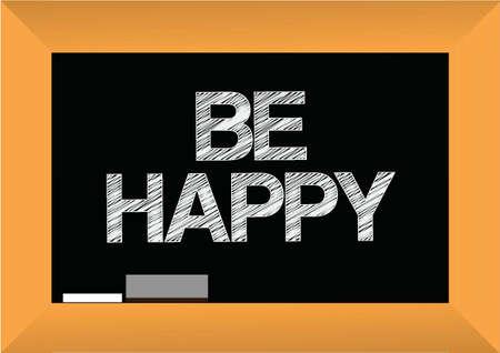 Werden glücklich Text geschrieben auf einer Tafel. Illustration, Design, Grafik Standard-Bild - 21311327