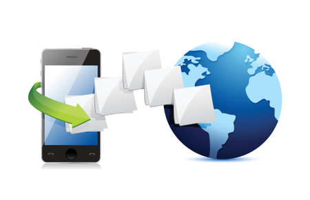 smart phone connected to the web. folder and globe illustration design over white
