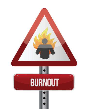 burn out: burnout verkeersbord illustratie ontwerp op een witte achtergrond