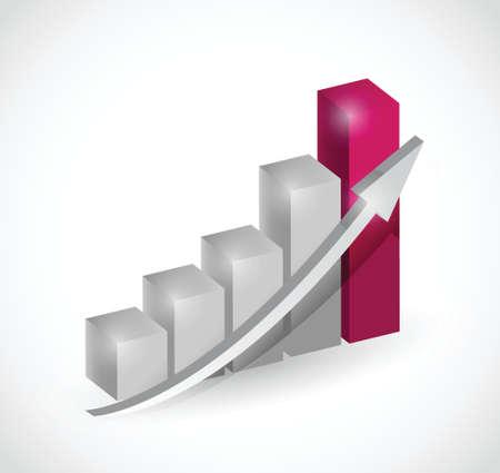 business bar graph chart illustration design over a white background