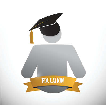 undergraduate: graduate education sign. illustration design over white