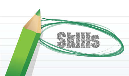 skills mark on a notepad pice of paper. illustration design