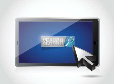 白でタブレット検索ボタンとカーソルのイラスト デザイン  イラスト・ベクター素材
