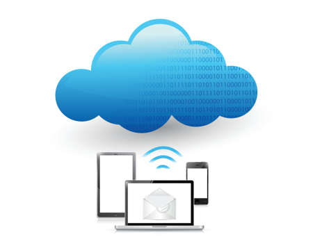 set of electronics communication tools connected to a cloud via wifi. illustration design Ilustracja