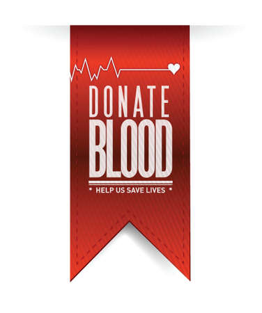 donate blood red heart banner illustration design over white Vector