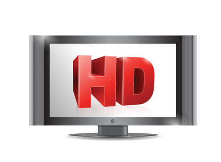 tv screen. . with a hd screen. illustration design over a white Stock Vector - 21314076