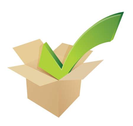 merchandise: check mark box cardboard. illustration design over white