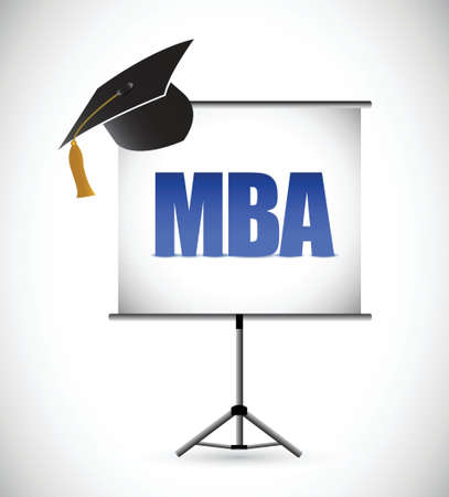 presentation board: mba education graduation presentation board. illustration design