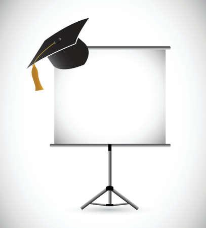 master degree: blank education graduation presentation board. illustration design