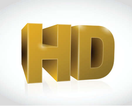 gold 3d hd text illustration design over a white background Vector