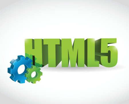 html: html gear text sign illustration design over a white background Illustration
