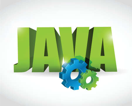 java: java gear text sign illustration design over a white background Illustration