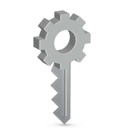 key to success: gear key illustration design over a white background