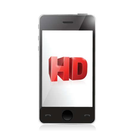 smartphone with a hd screen. illustration design over a white Ilustração