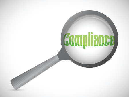 Magnifying glass showing compliance word on white background Illusztráció