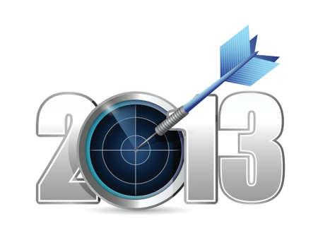 ターゲットは、2013 年。白色の背景上のイラスト デザイン