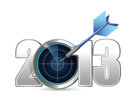 prognosis: target year 2013. illustration design over a white background