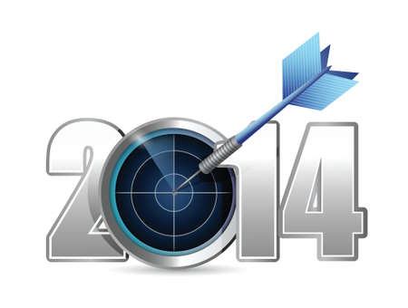 turn of the year: target year 2014. illustration design over a white background