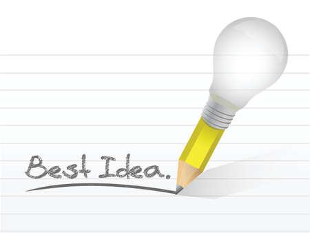 전구 연필로 작성 된 최고의 아이디어 메시지입니다. 일러스트레이션 디자인 일러스트