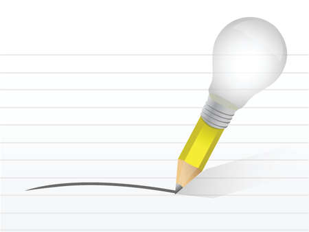 light bulb and pencil. illustration design over a notepad Stock Vector - 21314110