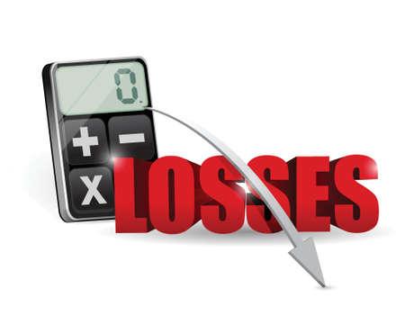 adding: adding all the losses on a calculator. illustration design over white