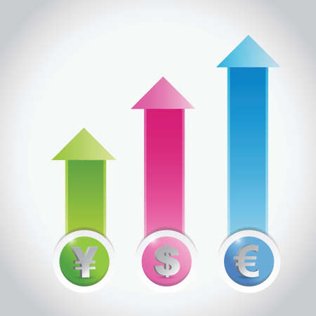 currency prices graph illustration design over a light grey background  イラスト・ベクター素材