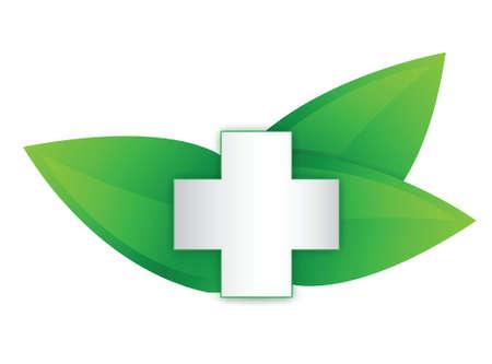 cross and organic leaves illustration design over white