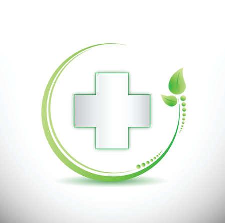 pharmaceutics: cross and organic leaves illustration design over white