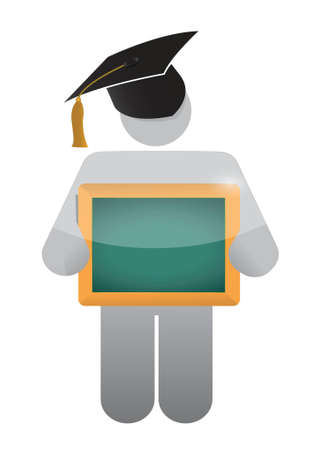icon holding a class a clean chalkboard. illustration design