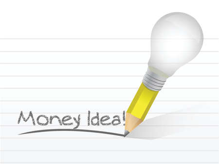 money idea message written with a light bulb pencil. illustration design Çizim